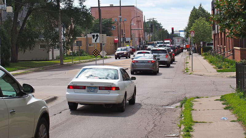 Car traffic on city street in Minneapolis