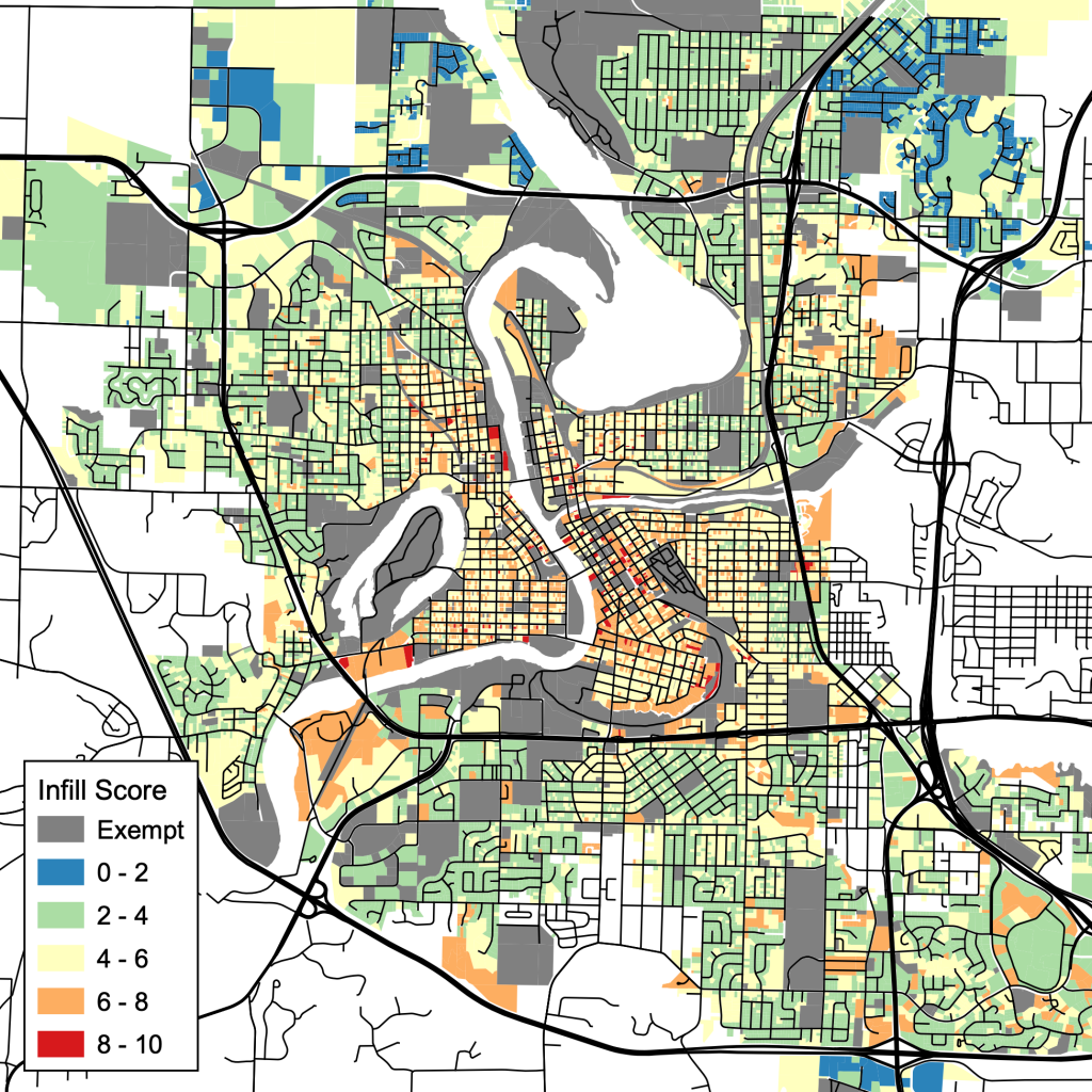 Infill index map of Eau Claire