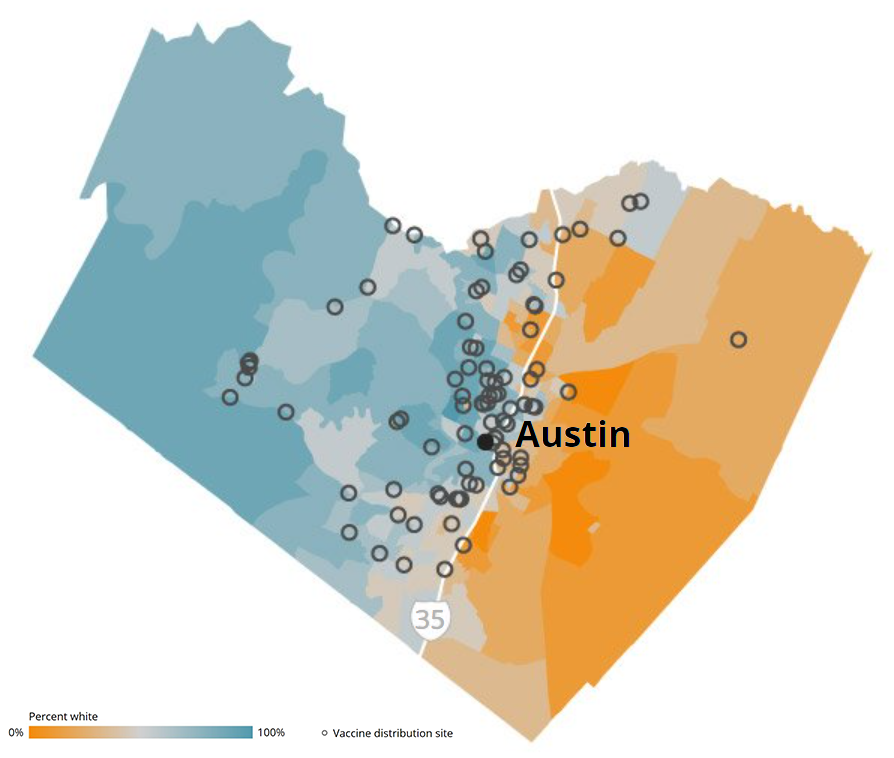 Image of Austin, spit by I-35, showing vaccine distribution sites and percentage of white population