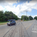 Bike crossing in Madison/Maple Bluff with near-parallel train track crossings