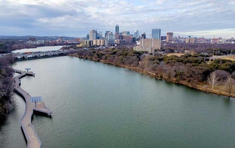City skyline of Austin with highway I-35
