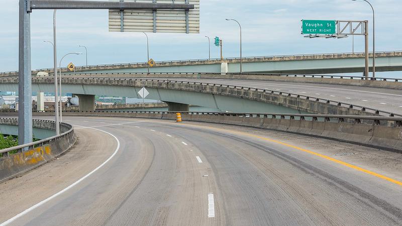 Empty freeway interchanges